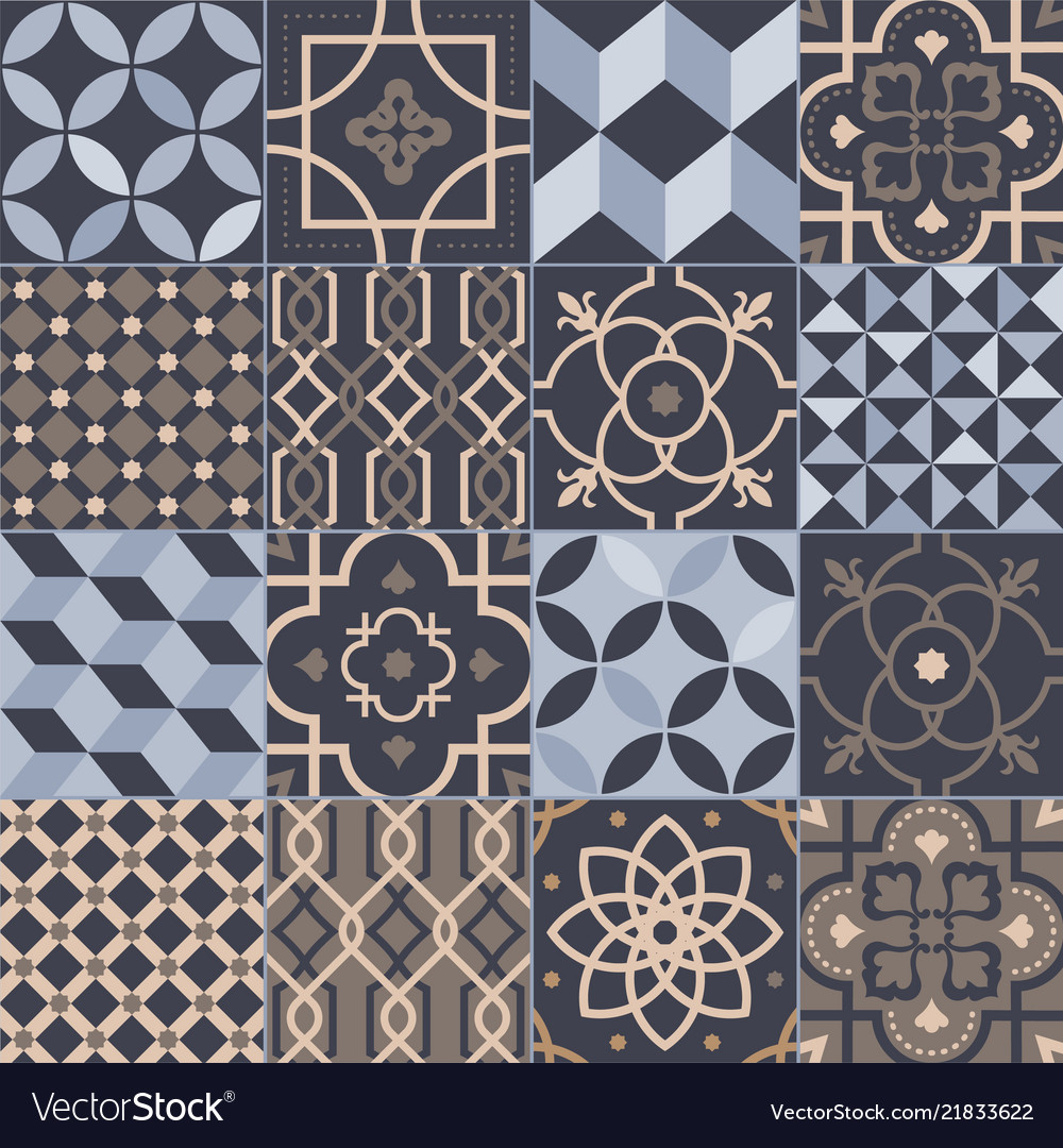 Ceramic Tiles With Various Vector Image