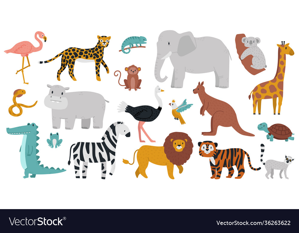 Cute african animals wood jungle or savanna