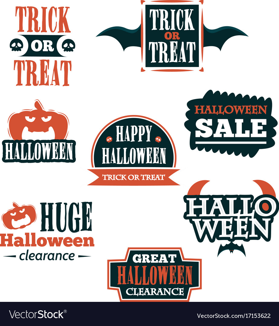Halloween badge and label sticker collection