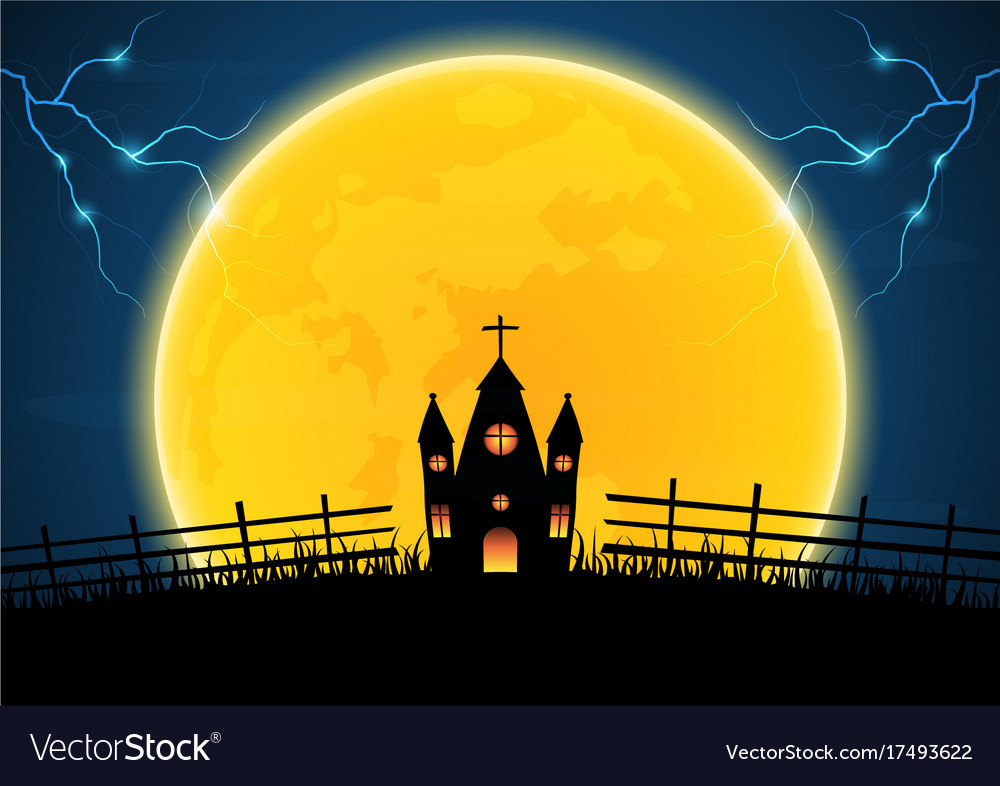 halloween graveyard church cross thunderbolt vector image