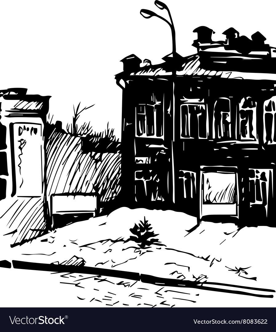 Hand drawn urban sketch