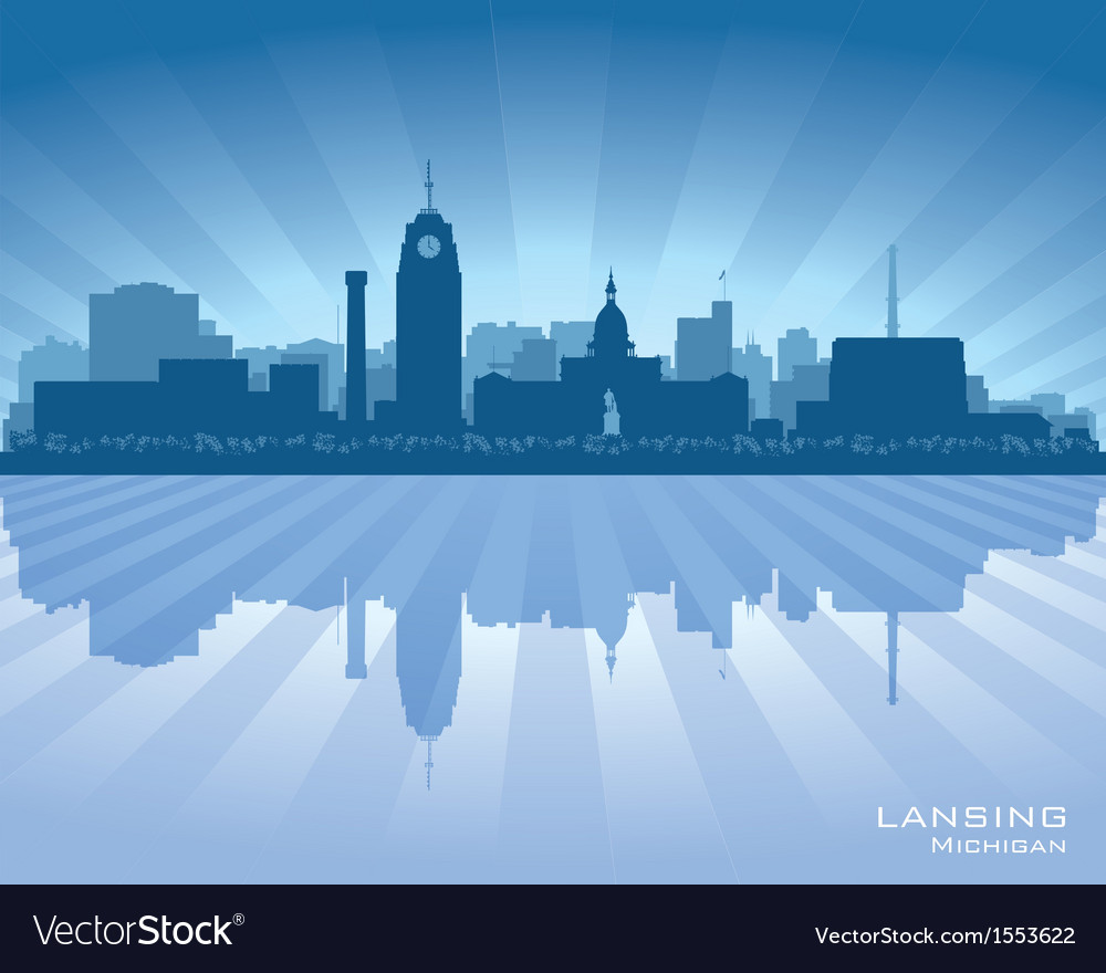 Lansing Michigan city skyline silhouet