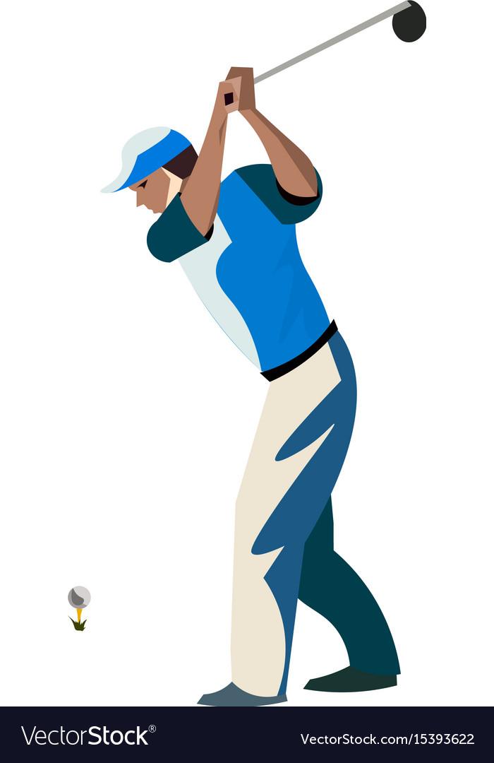 Men cartoon playing golf