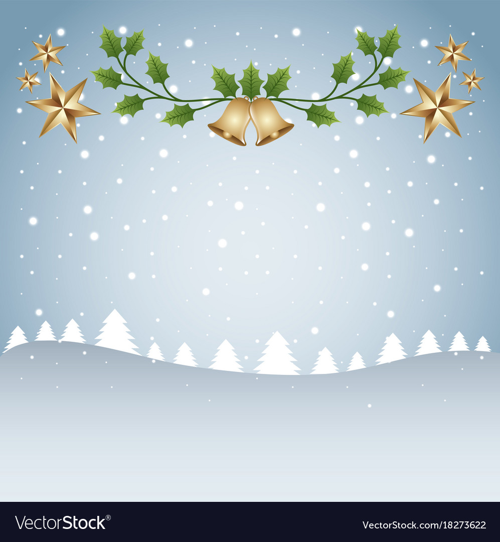 merry christmas card template tree snow and branch
