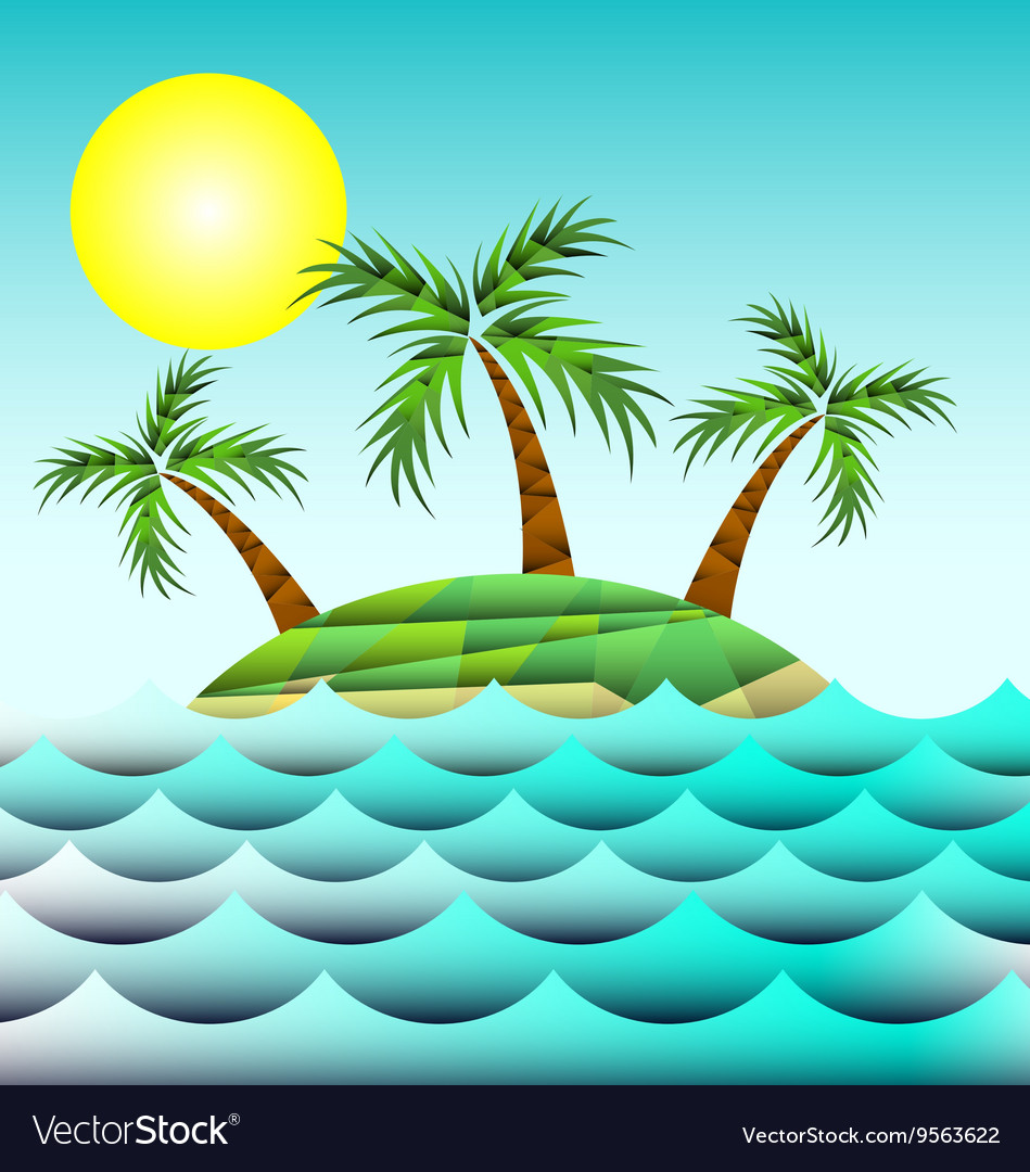 Sea and island with palm trees