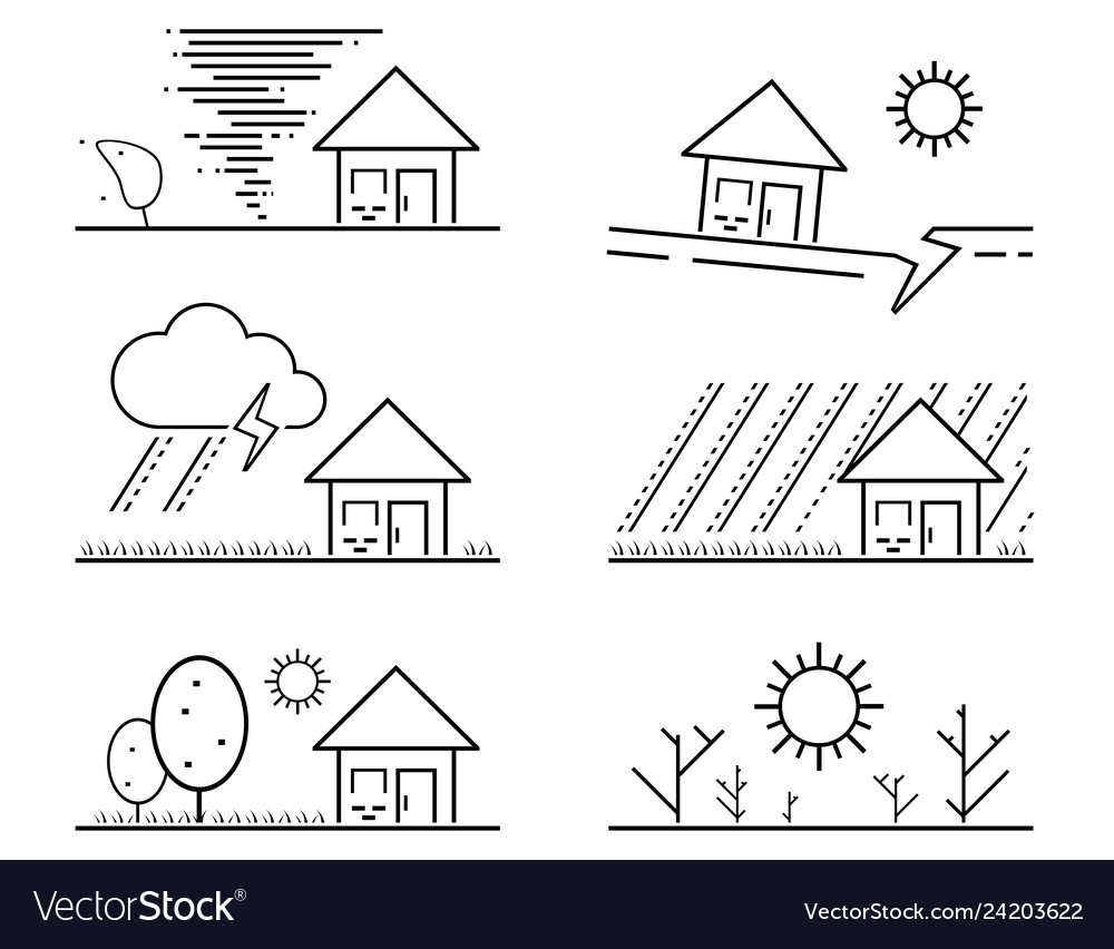 Set of black isolated natural disaster symbol