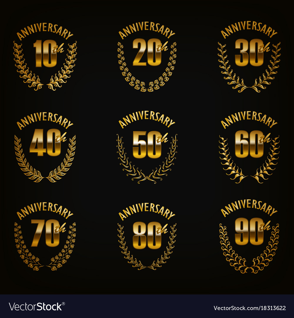 Set of gold anniversary badges