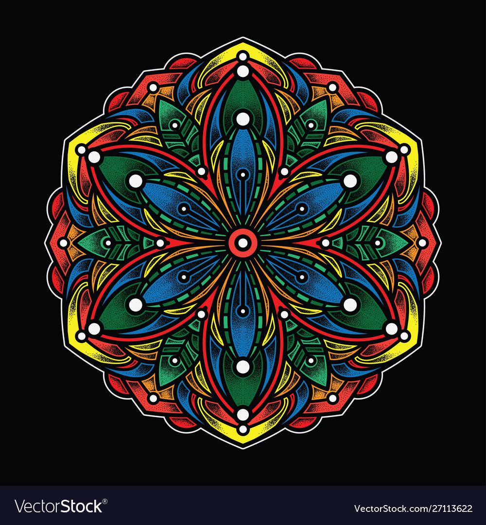 Simple color mandala art