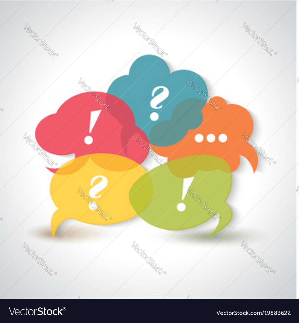 Speech bubbles icons with a question mark an