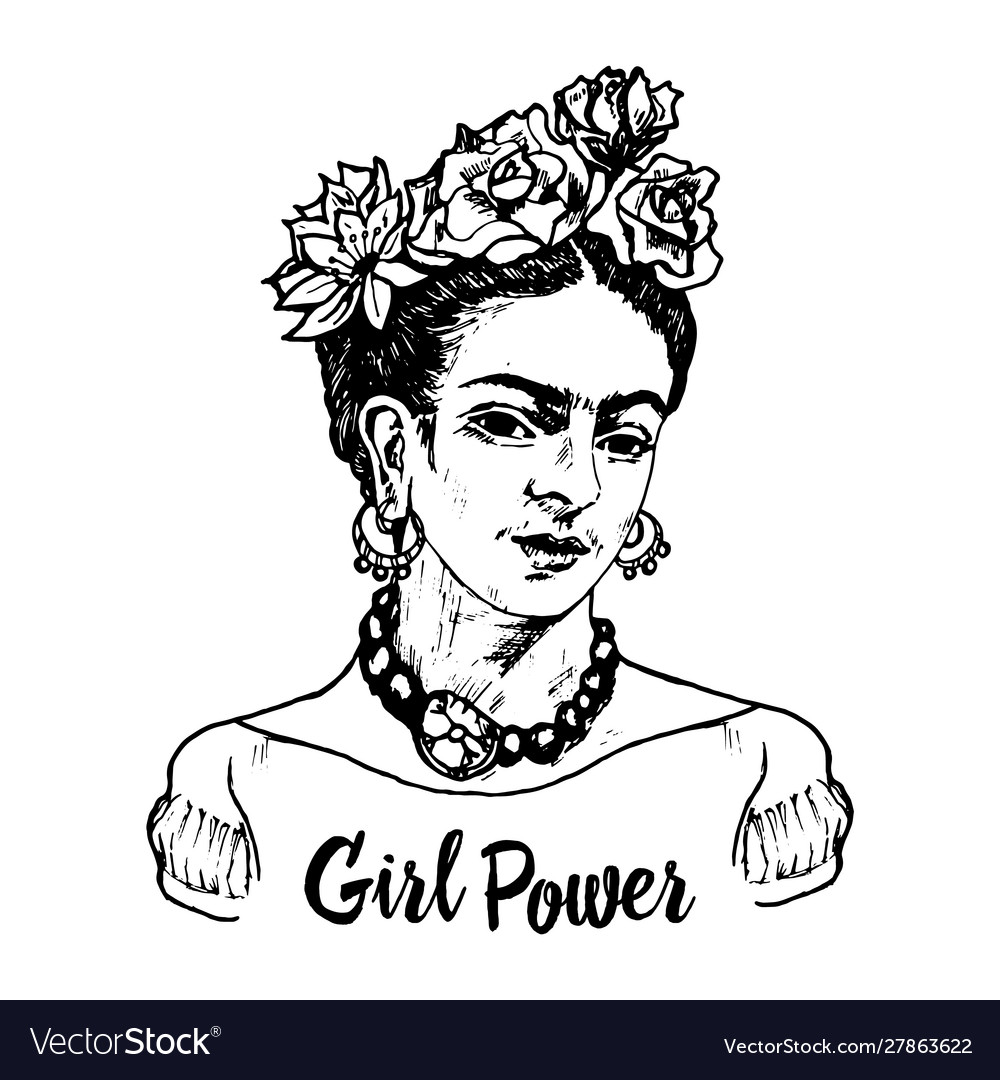 Women feminist with flowers portrait mexican