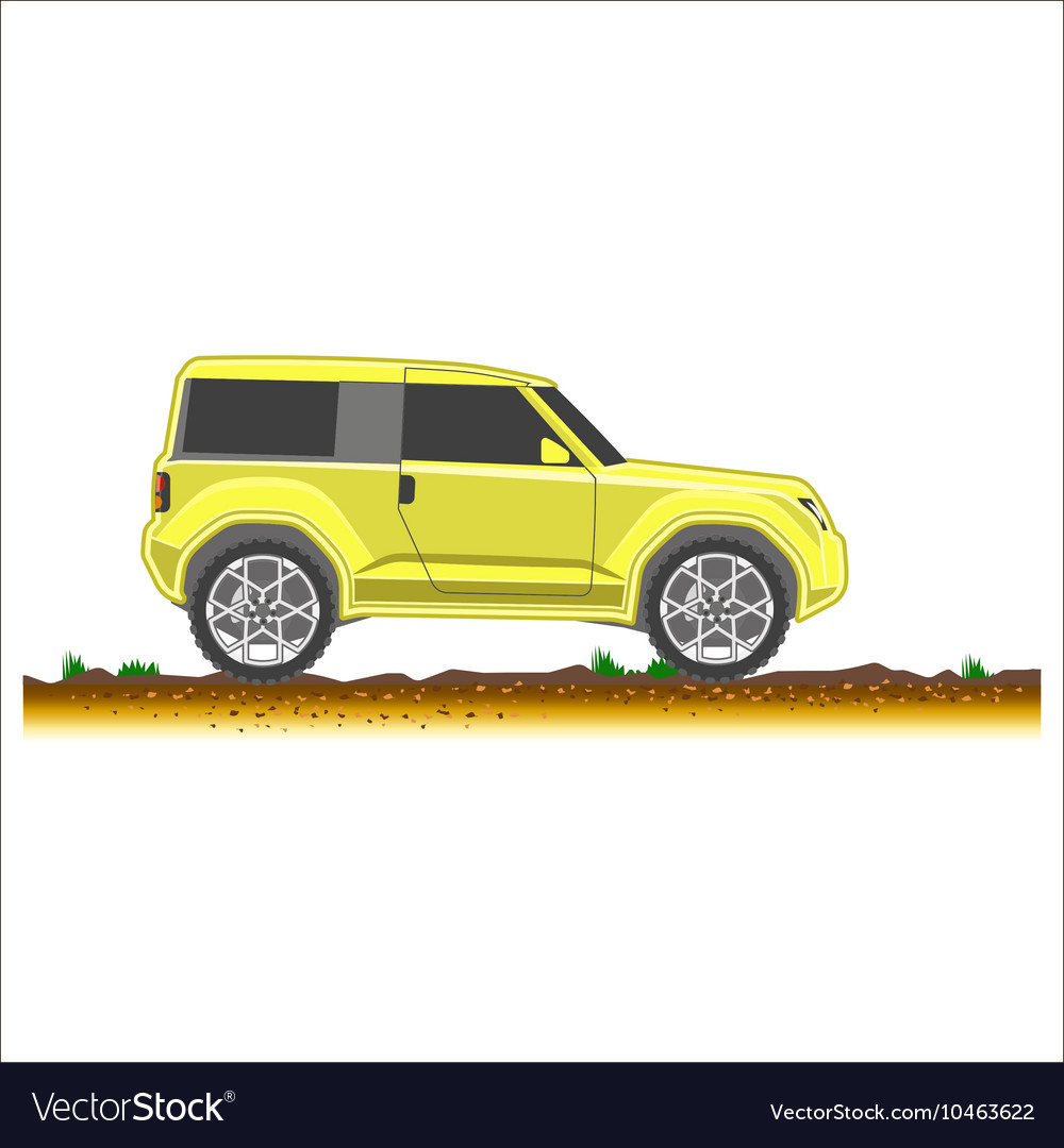 Yellow suv car off-road 4x4 icon colored