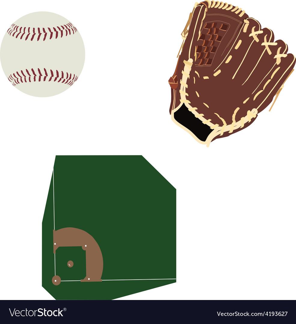 Baseball field ball and glove