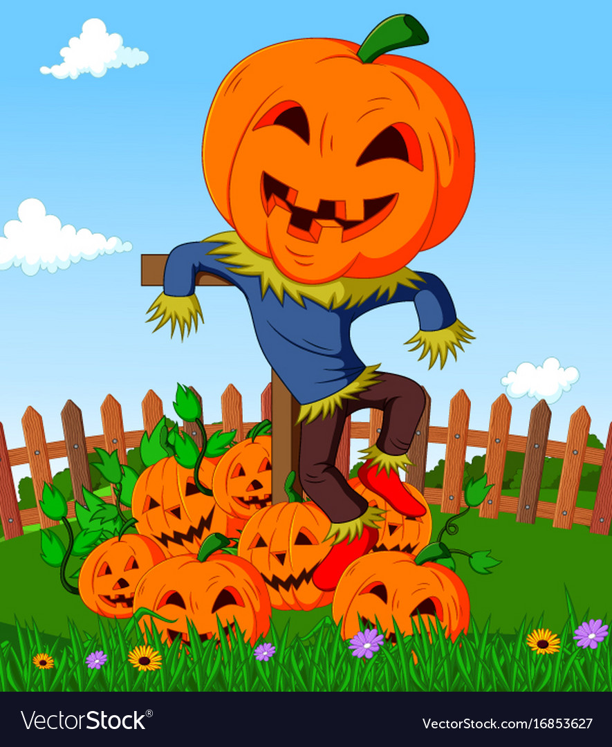 cartoon scarecrow and pumpkins royalty free vector image
