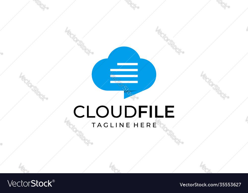 Cloud file document with chat bubble logo design