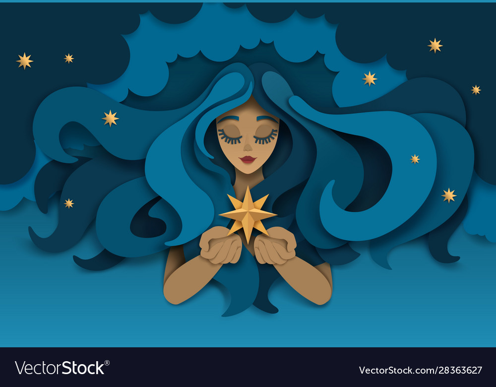 Dreaming girl with star paper cut