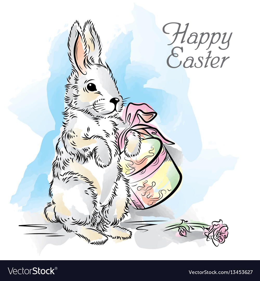 Easter card with rabbit with box and rose