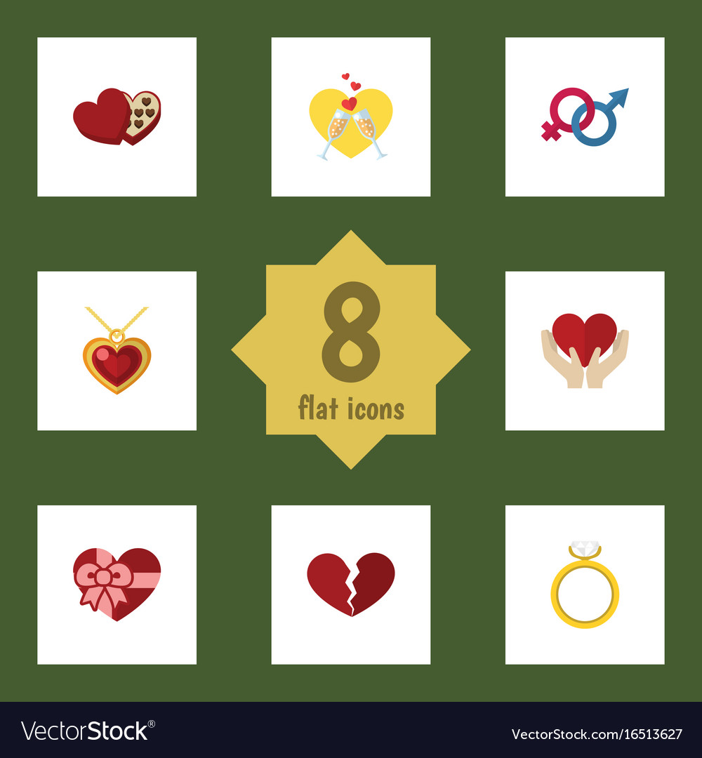 Flat icon love set of engagement sexuality symbol