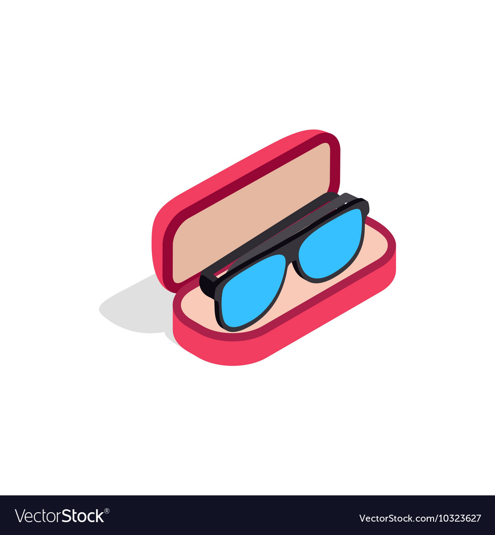 Glasses in box icon isometric 3d style