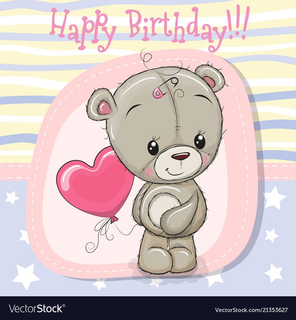 Greeting Card Teddy Bear Girl With Balloon Vector Image