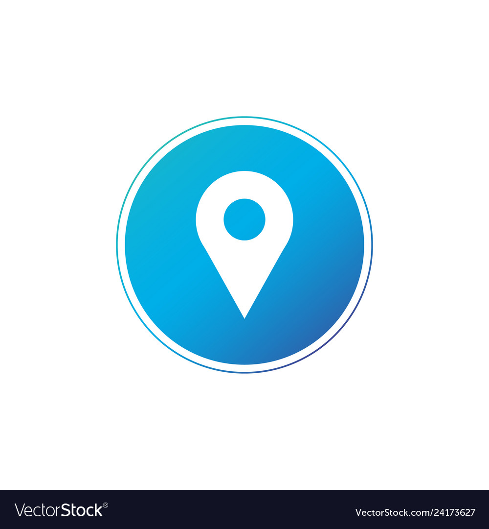 Location gps map pin icon in blue circle map