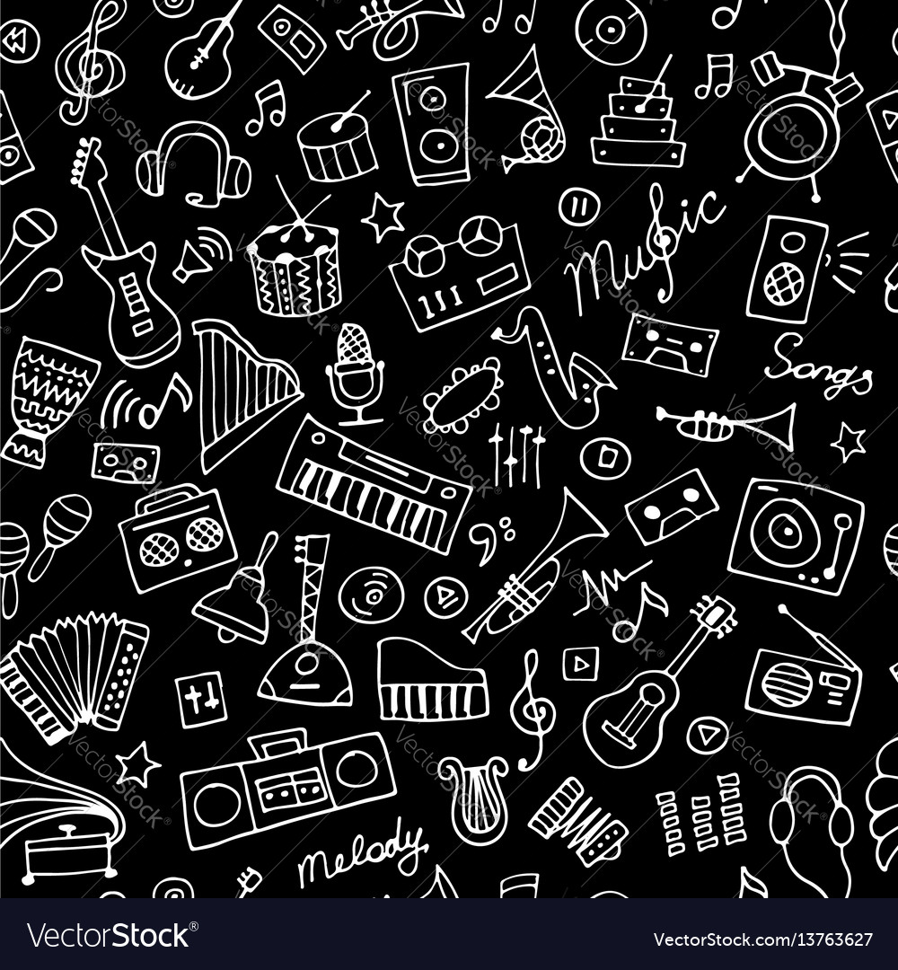 Music instruments sketch seamless pattern for
