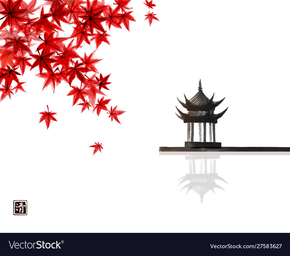 Red japanese maple leaves and pagoda temlple over