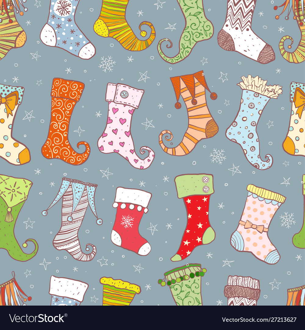 Seamless background with christmas gift socks on