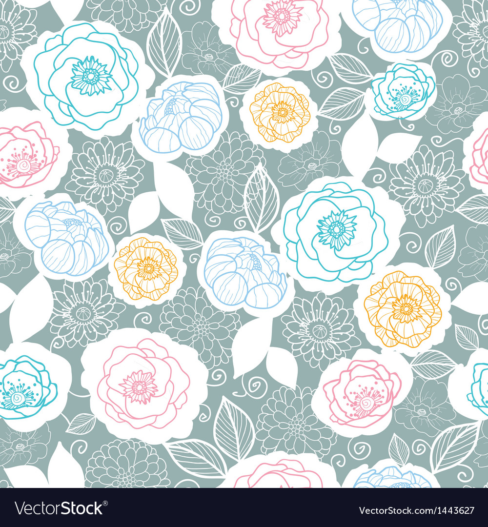 Silver and colors florals seamless pattern