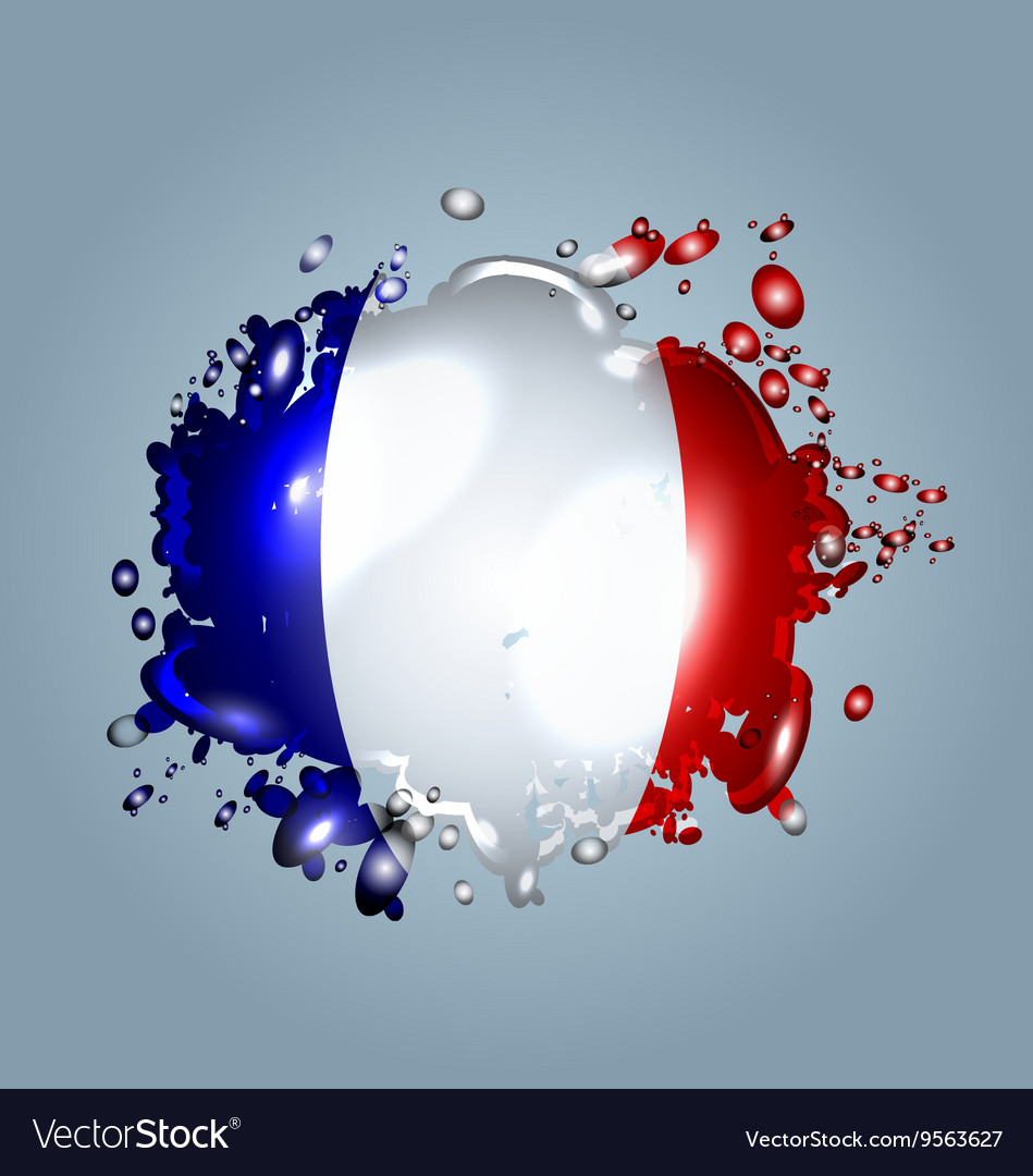 Water droplets with a French flag