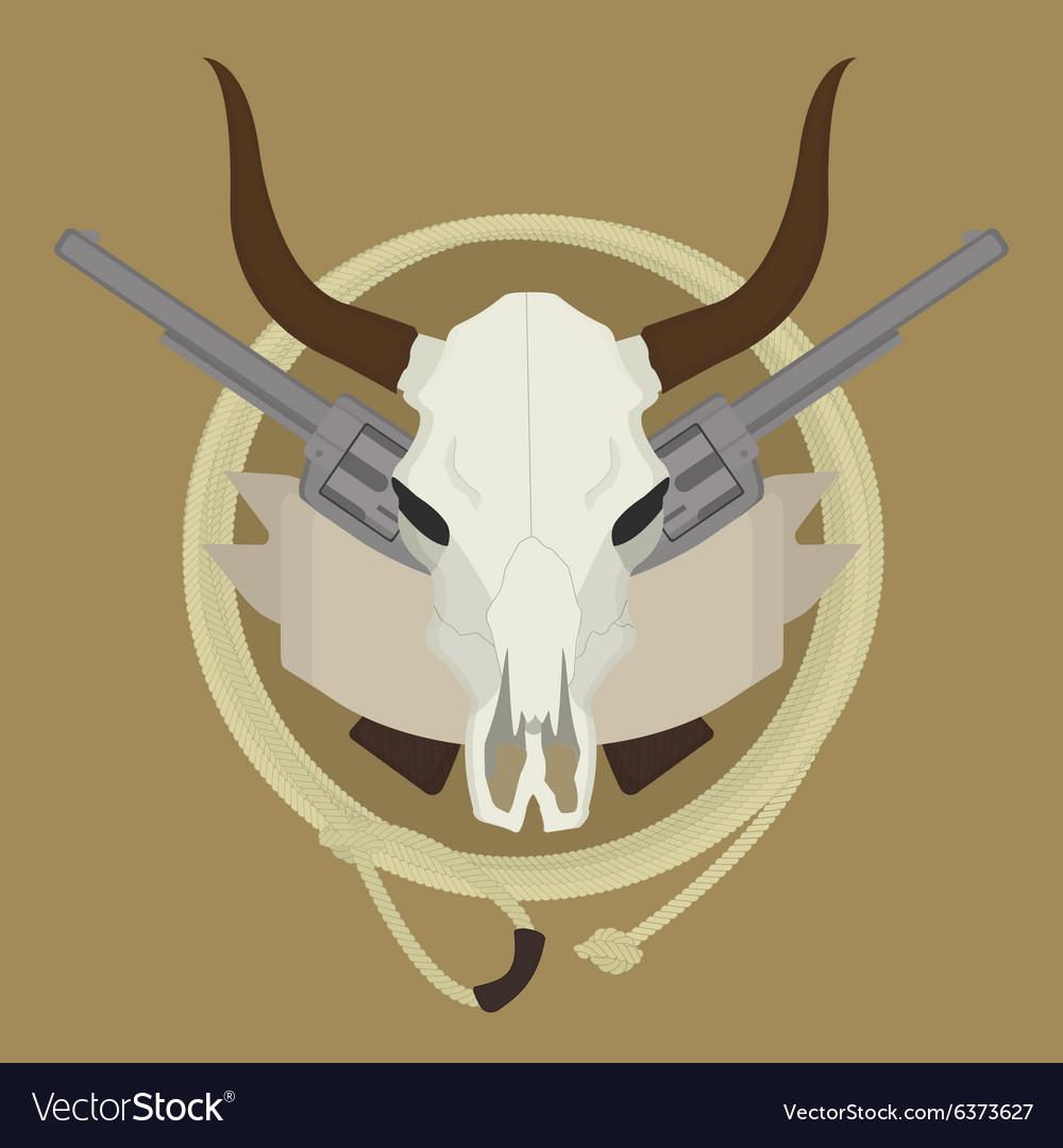 Wild west cow skull pistols ribbon lasso logo