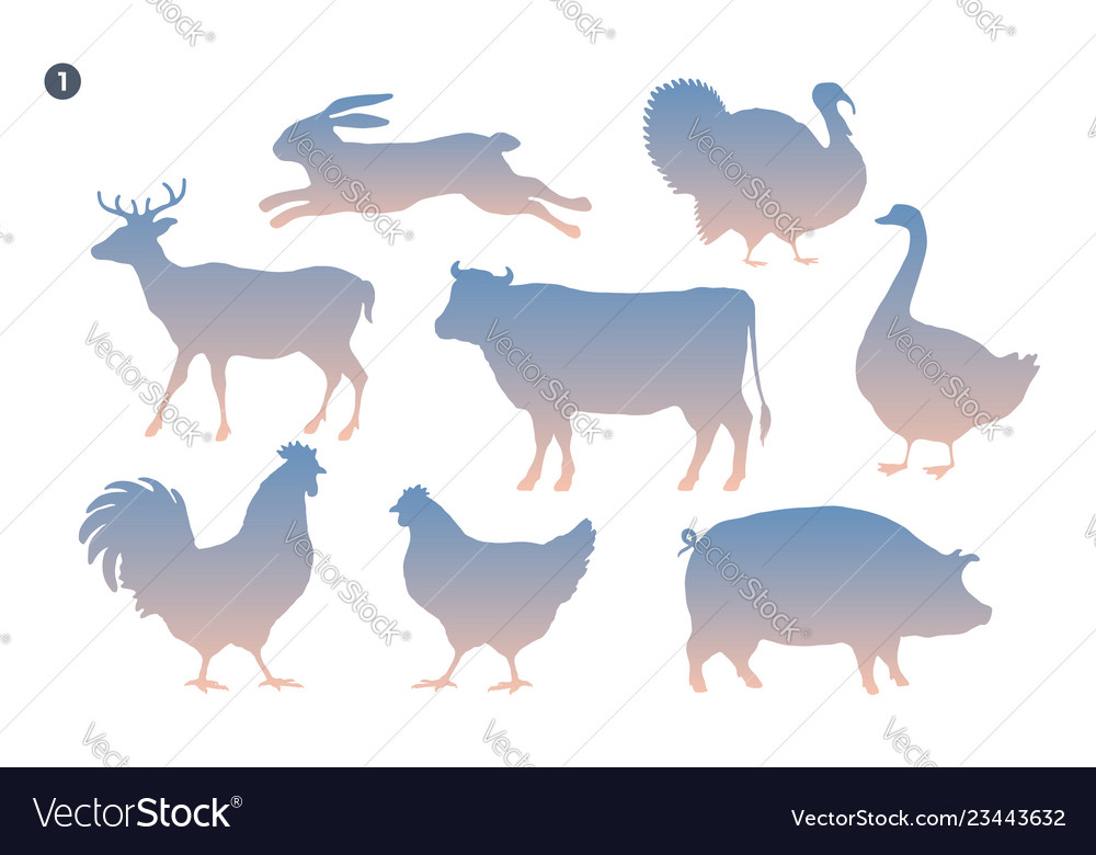Animals silhouette set silhouette of animals on