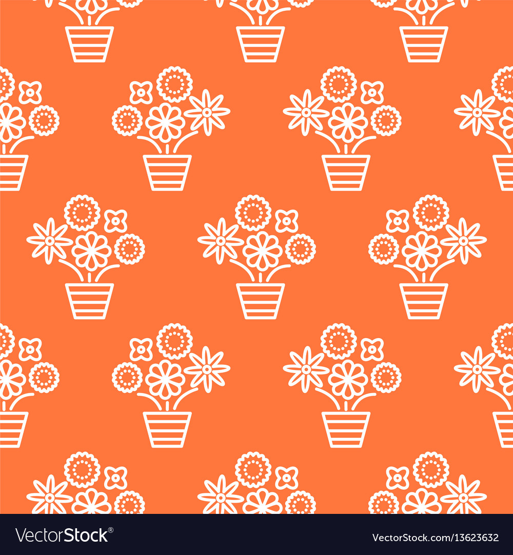 Coral orange and white line flower pots seamless