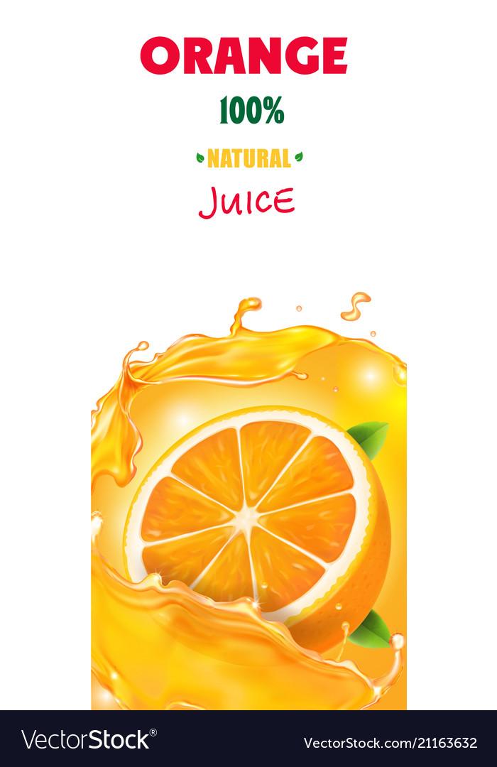 Fresh Orange Juice Banner Background With Splashes