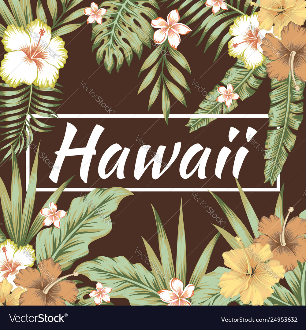 Hawaii slogan tropical leaves hibiscus brown
