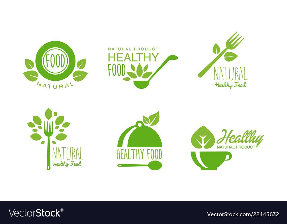 Healthy natural product logos set green labels
