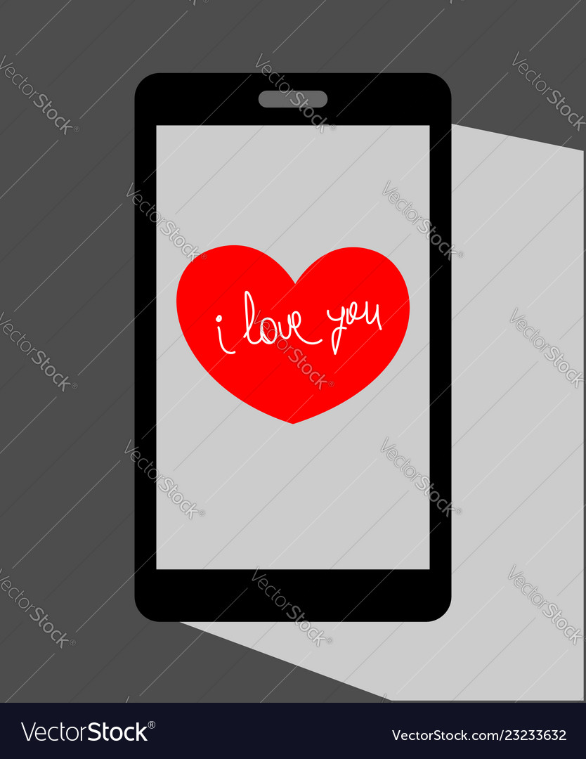 Heart valentine on the mobile phone screen