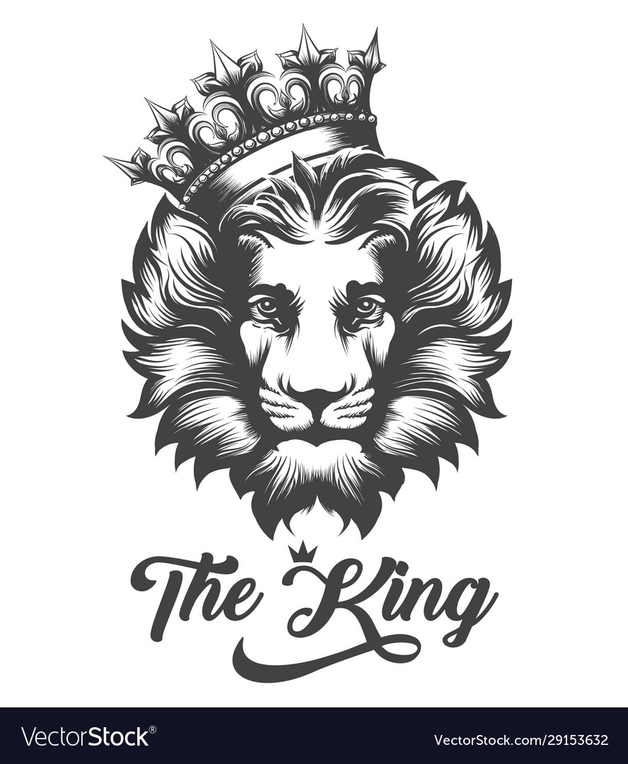 Lion head in king crown in engraving style