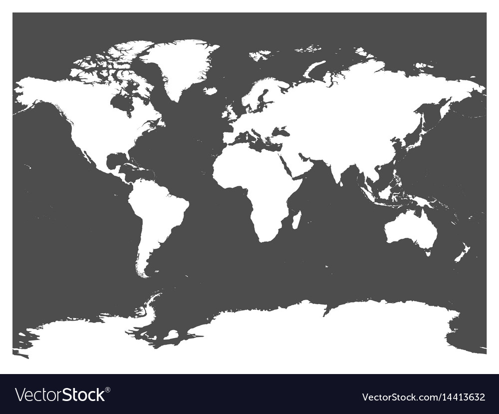 Map of world black silhouette white high vector image