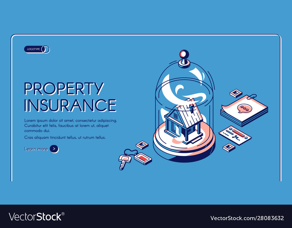 Property insurance isometric landing page banner