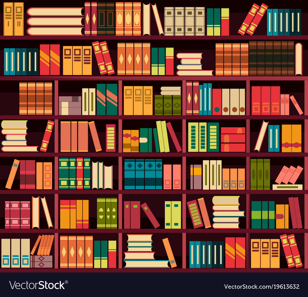 Seamless pattern bookshelves Royalty Free Vector Image