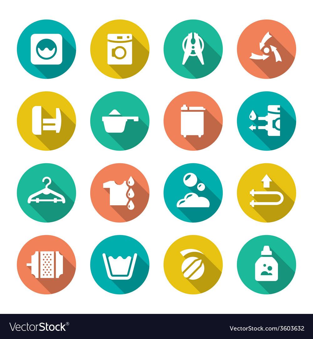Set flat icons of laundry vector image