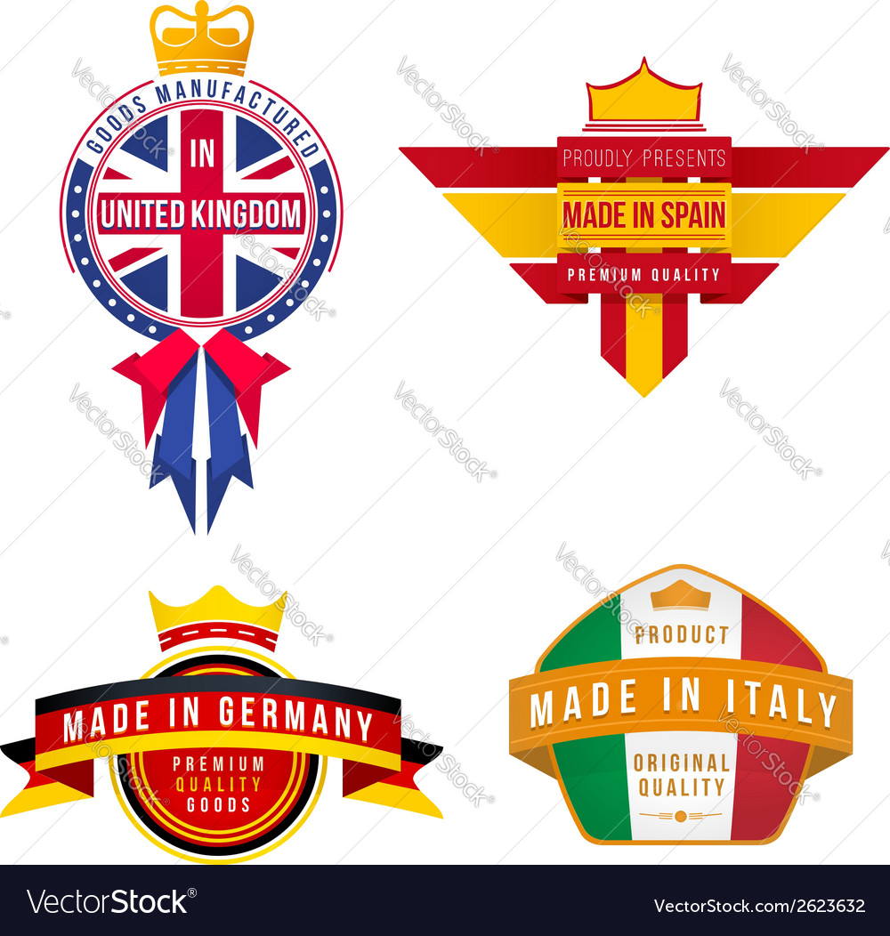 Set of made in united kingdom germany spain italy