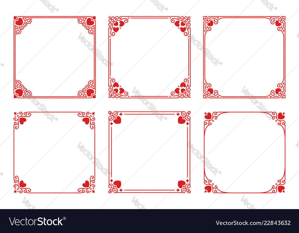 Set of red square frames with hearts flourishes