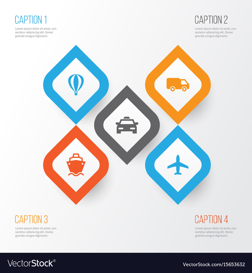 Shipment icons set collection of tanker cab vector image