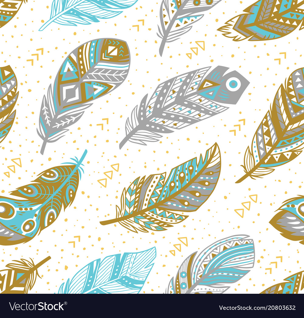 Tribal feathers pattern in grey gold and blue