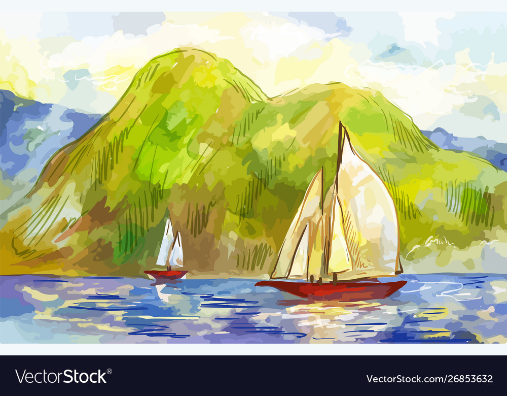 Watercolor sailboats on background green