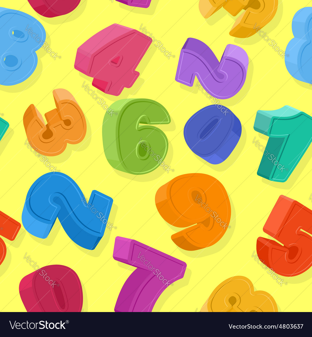 Background of colored numbers Seamless pattern vector image