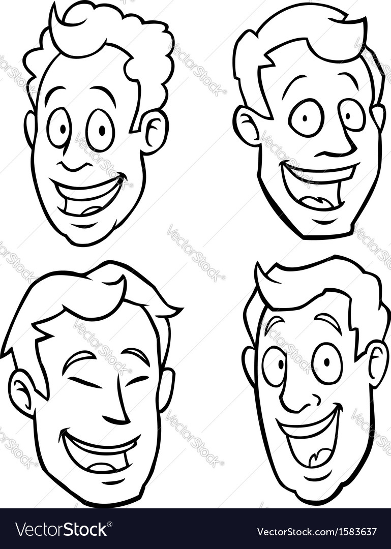 Black and white male cartoon faces vector image