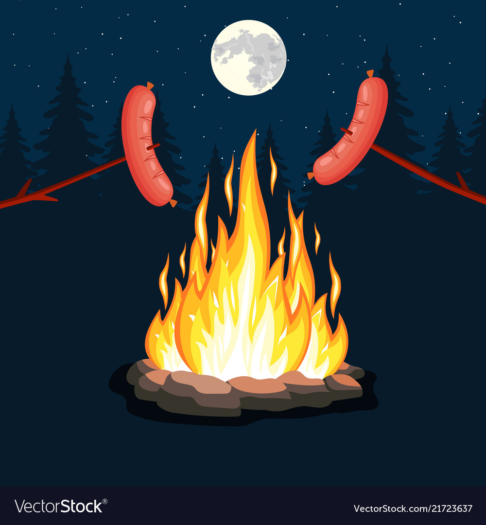 Bonfire with grill sausage