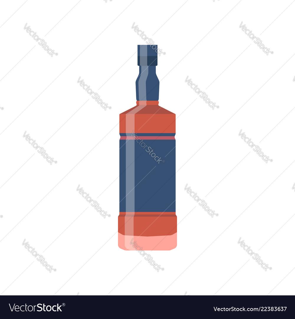 Bottle glass whiskey flat design